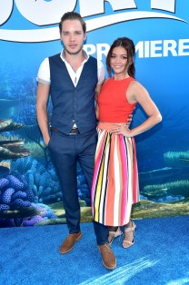 HOLLYWOOD, CA - JUNE 08: Actors Dominic Sherwood (L) and Sarah Hyland attend The World Premiere of Disney-Pixar's FINDING DORY on Wednesday, June 8, 2016 in Hollywood, California. (Photo by Alberto E. Rodriguez/Getty Images for Disney) *** Local Caption *** Dominic Sherwood; Sarah Hyland
