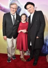 """HOLLYWOOD, CA - JUNE 21: (L-R) Director Steven Spielberg, actors Ruby Barnhill and Mark Rylance arrive on the red carpet for the US premiere of Disney's """"The BFG,"""" directed and produced by Steven Spielberg. A giant sized crowd lined the streets of Hollywood Boulevard to see stars arrive at the El Capitan Theatre. """"The BFG"""" opens in U.S. theaters on July 1, 2016, the year that marks the 100th anniversary of Dahl's birth, at the El Capitan Theatre on June 21, 2016 in Hollywood, California. (Photo by Alberto E. Rodriguez/Getty Images for Disney) *** Local Caption *** Steven Spielberg; Ruby Barnhill; Mark Rylance"""