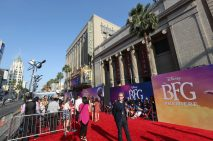 """HOLLYWOOD, CA - JUNE 21: A general view of the atmosphere during the red carpet for the US premiere of Disney's """"The BFG,"""" directed and produced by Steven Spielberg. A giant sized crowd lined the streets of Hollywood Boulevard to see stars arrive at the El Capitan Theatre. """"The BFG"""" opens in U.S. theaters on July 1, 2016, the year that marks the 100th anniversary of Dahl's birth, at the El Capitan Theatre on June 21, 2016 in Hollywood, California. (Photo by Jesse Grant/Getty Images for Disney)"""