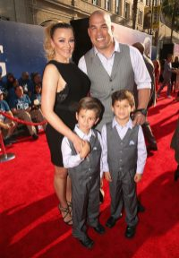 """HOLLYWOOD, CA - JUNE 21: Tito Ortiz and family arrive on the red carpet for the US premiere of Disney's """"The BFG,"""" directed and produced by Steven Spielberg. A giant sized crowd lined the streets of Hollywood Boulevard to see stars arrive at the El Capitan Theatre. """"The BFG"""" opens in U.S. theaters on July 1, 2016, the year that marks the 100th anniversary of Dahl's birth, at the El Capitan Theatre on June 21, 2016 in Hollywood, California. (Photo by Jesse Grant/Getty Images for Disney) *** Local Caption *** Tito Ortiz"""