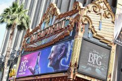 """HOLLYWOOD, CA - JUNE 21: A general view of the atmosphere during the red carpet for the US premiere of Disney's """"The BFG,"""" directed and produced by Steven Spielberg. A giant sized crowd lined the streets of Hollywood Boulevard to see stars arrive at the El Capitan Theatre. """"The BFG"""" opens in U.S. theaters on July 1, 2016, the year that marks the 100th anniversary of Dahl's birth, at the El Capitan Theatre on June 21, 2016 in Hollywood, California. (Photo by Alberto E. Rodriguez/Getty Images for Disney)"""