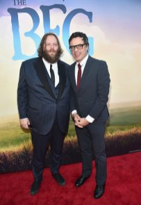 """HOLLYWOOD, CA - JUNE 21: Actors Olafur Darri Olafsson (L) and Jemaine Clement arrive on the red carpet for the US premiere of Disney's """"The BFG,"""" directed and produced by Steven Spielberg. A giant sized crowd lined the streets of Hollywood Boulevard to see stars arrive at the El Capitan Theatre. """"The BFG"""" opens in U.S. theaters on July 1, 2016, the year that marks the 100th anniversary of Dahl's birth, at the El Capitan Theatre on June 21, 2016 in Hollywood, California. (Photo by Alberto E. Rodriguez/Getty Images for Disney) *** Local Caption *** Olafur Darri Olafsson; Jemaine Clement"""
