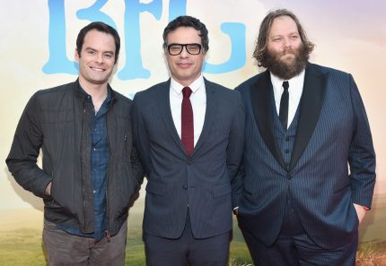 """HOLLYWOOD, CA - JUNE 21: (L-R) Actors Bill Hader, Jemaine Clement and Olafur Darri Olafsson arrive on the red carpet for the US premiere of Disney's """"The BFG,"""" directed and produced by Steven Spielberg. A giant sized crowd lined the streets of Hollywood Boulevard to see stars arrive at the El Capitan Theatre. """"The BFG"""" opens in U.S. theaters on July 1, 2016, the year that marks the 100th anniversary of Dahl's birth, at the El Capitan Theatre on June 21, 2016 in Hollywood, California. (Photo by Alberto E. Rodriguez/Getty Images for Disney) *** Local Caption *** Bill Hader; Jemaine Clement; Olafur Darri Olafsson"""