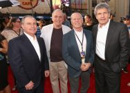 """HOLLYWOOD, CA - JUNE 21: (L-R) Walt Disney Studios President Alan Bergman, Weta's Joe Letteri, producer Frank Marshall and Chairman, The Walt Disney Studios, Alan Horn arrive on the red carpet for the US premiere of Disney's """"The BFG,"""" directed and produced by Steven Spielberg. A giant sized crowd lined the streets of Hollywood Boulevard to see stars arrive at the El Capitan Theatre. """"The BFG"""" opens in U.S. theaters on July 1, 2016, the year that marks the 100th anniversary of Dahl's birth, at the El Capitan Theatre on June 21, 2016 in Hollywood, California. (Photo by Jesse Grant/Getty Images for Disney) *** Local Caption *** Alan Bergman; Joe Letteri; Frank Marshall; Alan Horn"""