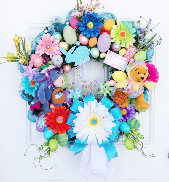 Vibrant and Colorful Disney Spring Wreath with Winnie the Pooh