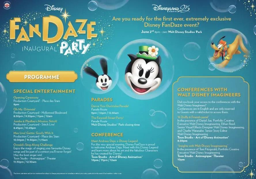 Program Revealed for FanDaze Inagural Event at Disneyland Paris 2