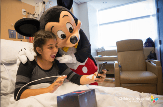 Mickey pays a visit to child in the hospital
