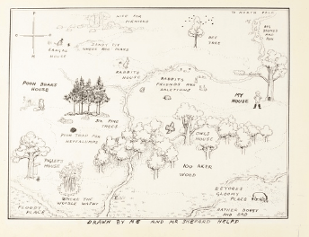 "original sketch of ""Winnie the Pooh's"" Hundred Acre Wood"