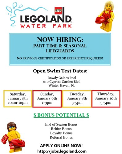 Legoland Is Looking For Part-Time and Seasonal Lifeguards 1