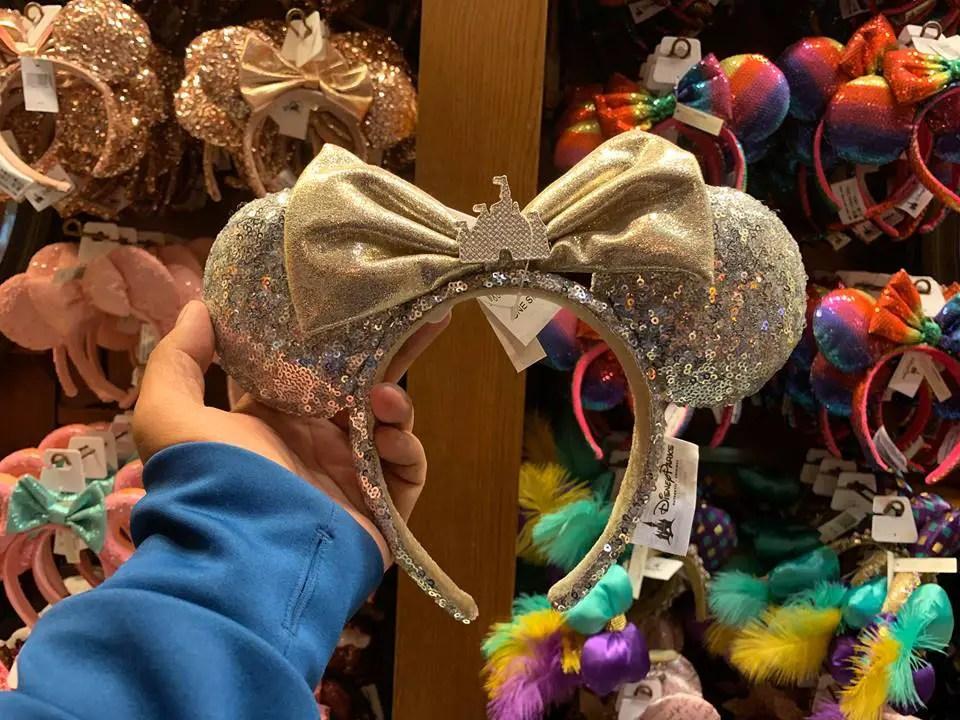 Shimmery New Silver Disney Castle Minnie Ears