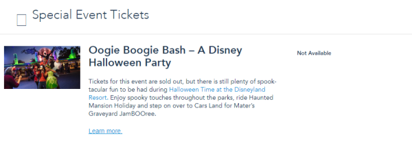 Oogie Boogie Bash at Disney's California Adventure Now Completely Sold out 1