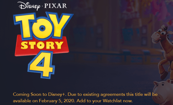 Toy Story 4 Coming to Disney+ in February 1
