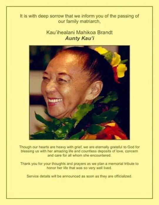 Disney World Cast Member Auntie Kau'i has passed away