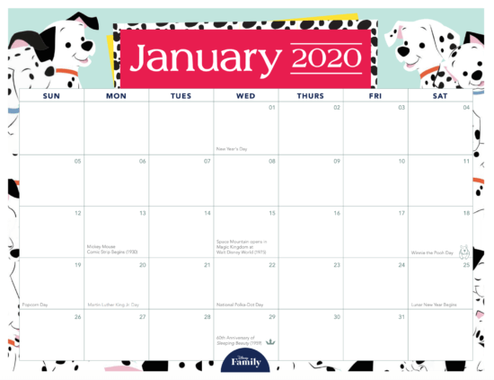 Download This Disney Family Calendar For 2020 Chip And Company