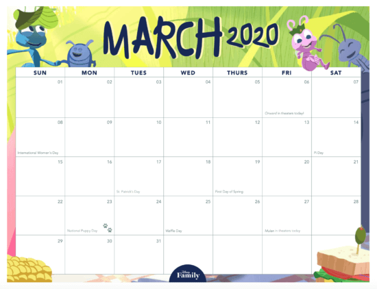 Download This Disney Family Calendar For 2020!