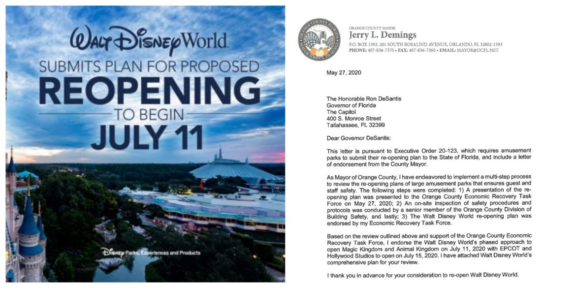 Orange County Mayor Endorses Walt Disney World's Reopening Plan – Submitted to Governor DeSantis for Final Approval
