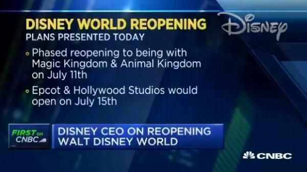 Disney CEO Bob Chapek talks to CNBC on Disney World Reopening 1