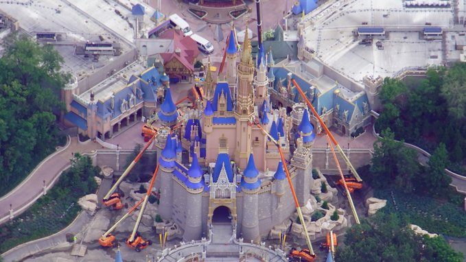 Aerial view of Cinderella Castle Construction before reopening!