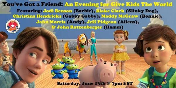 Jodi Benson and 'Toy Story' Stars Hosting Online Charity Event for 'Give Kids the World' 1