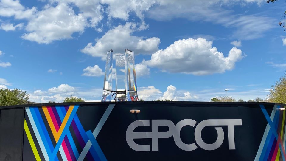 Gorgeous New Epcot Logo Pylons Installed At Main Entrance Fountain