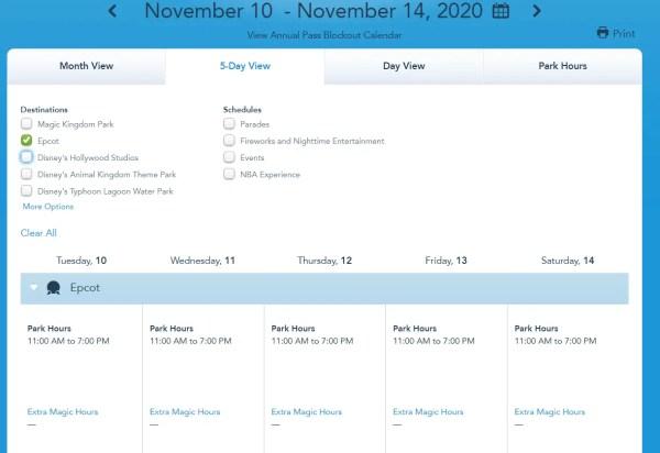 Disney World shows park hours through November 14h 4