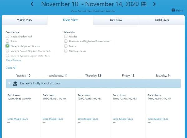 Disney World shows park hours through November 14h 3