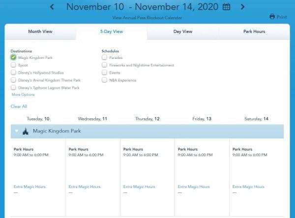 Disney World shows park hours through November 14h 2