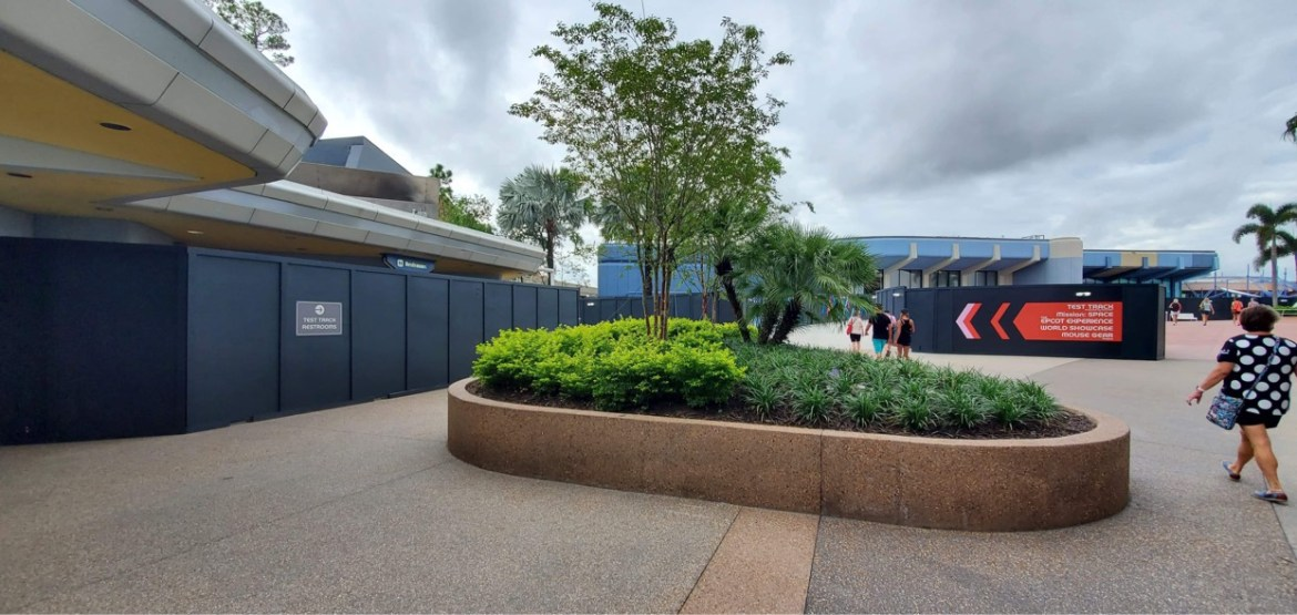 Spaceship Earth East Restrooms in the front of Epcot Closed