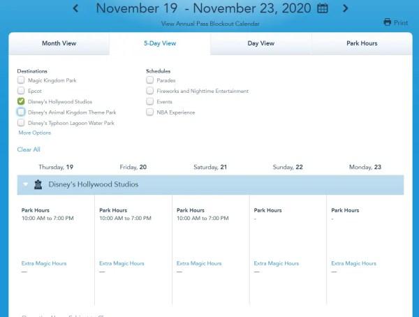 Disney World Releases park hours for mid November 3
