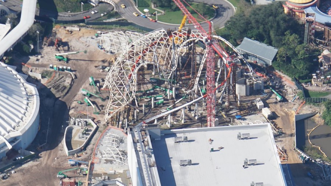 Aerial view of the canopy for Tron Lightcycle Run