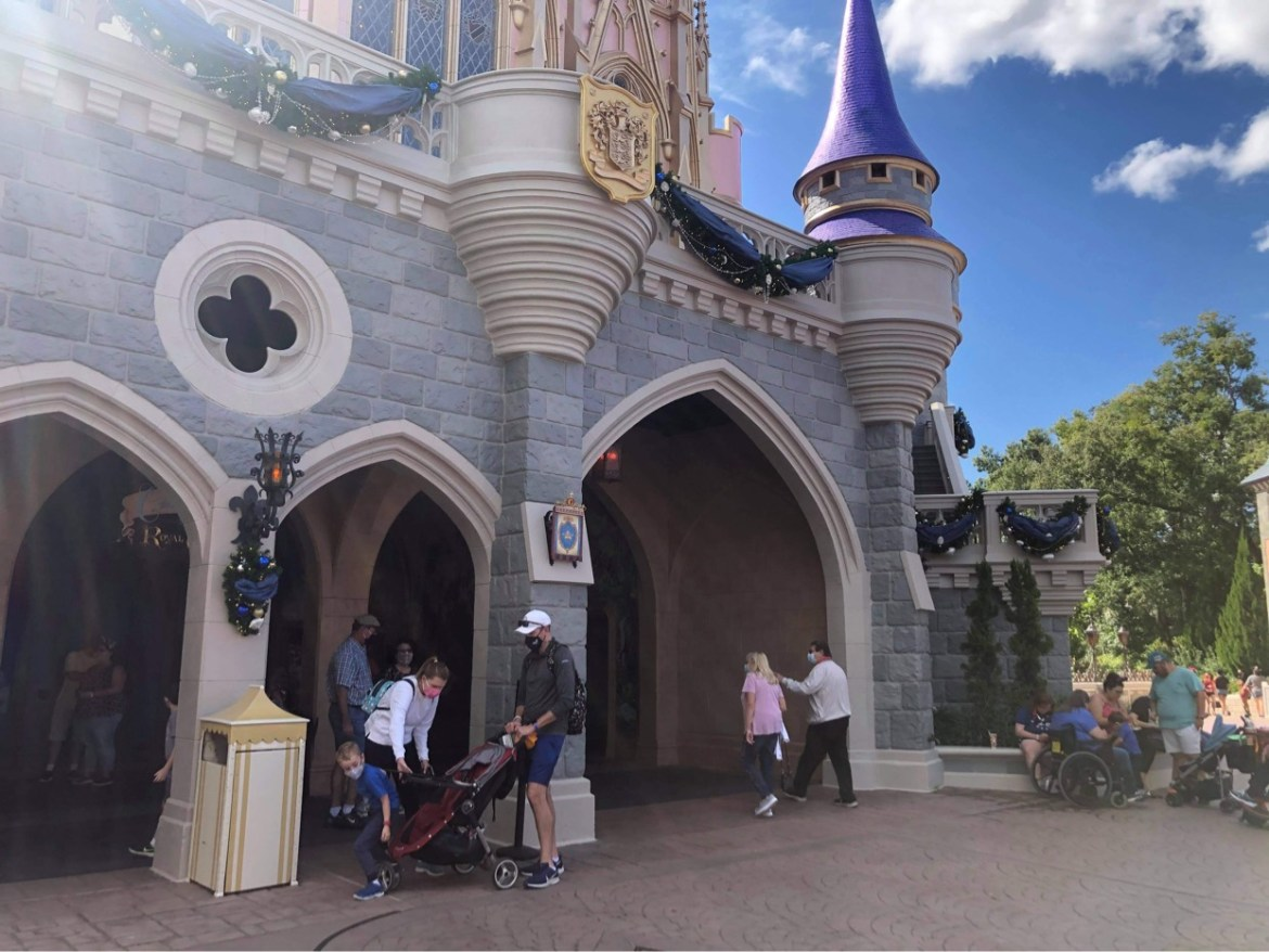 Holiday overlay being added to Cinderella Castle