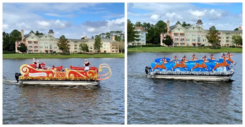 Here comes Santa Claus floating through Disney Springs