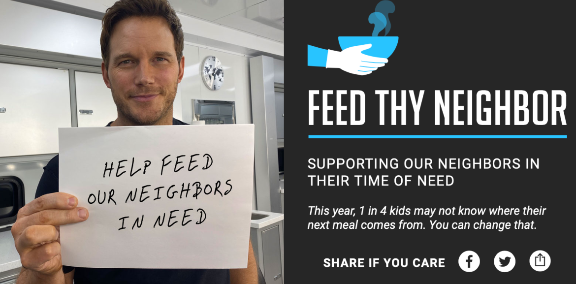 Chris Pratt is Matching Donations for the 'Feed Thy Neighbor' Campaign
