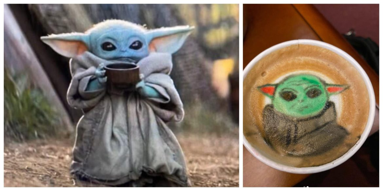 Super Cute Baby Yoda Latte Art