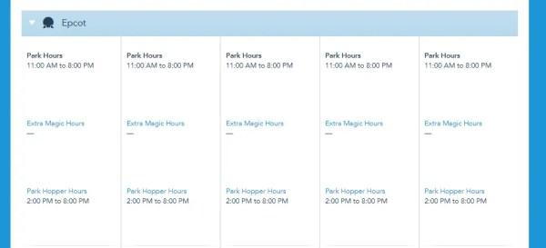 Park Hopper Hours now showing on Disney World Calendar 3