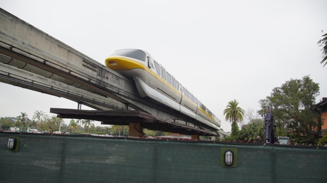 Polynesian Resort monorail station demolished & crossbeams complete