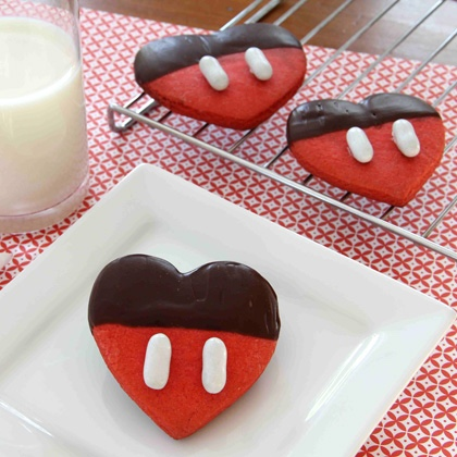 Mickey's chocolate dipped valentine cookies