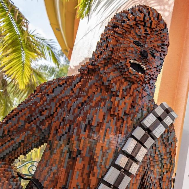 Chewbacca lands at the Lego Store in Downtown Disney 1