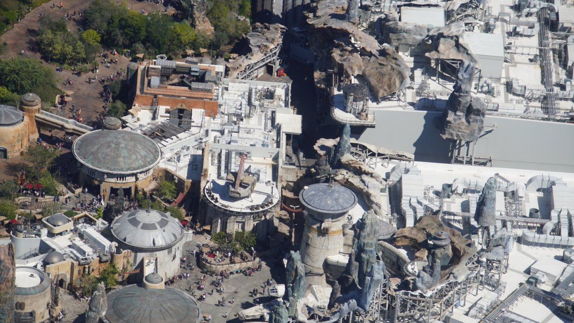 Aerial view of where Star Wars Galactic Starcruiser shuttles to Batuu will dock in Hollywood Studios