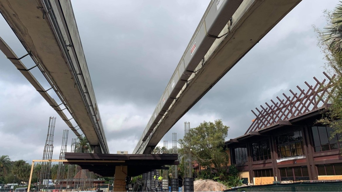 Construction continues at Disney's Polynesian Resort Monorail Station
