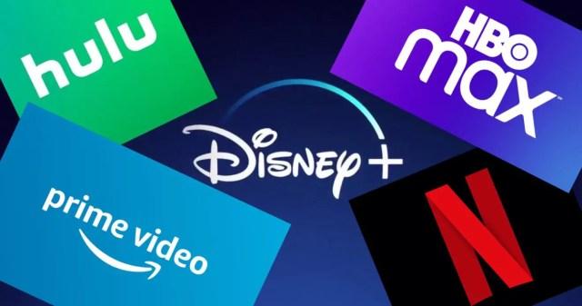 Disney+, Netflix, HBO Max, Amazon Prime Video, Hulu Logos