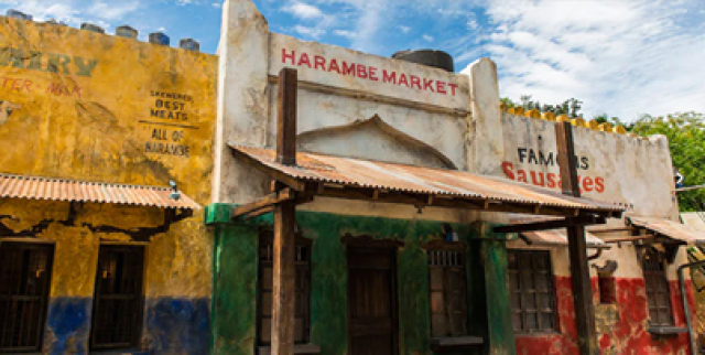 Inside the Harambe Market at Disney's Animal Kingdom, where there are different booths to get food