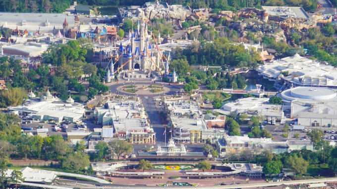 Aeriel view of a closed Disney World from 1 year ago