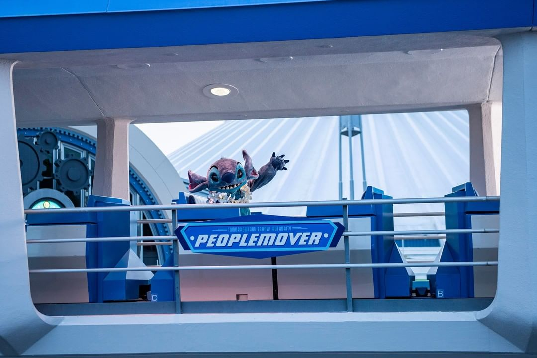 Stitch Takes a ride on the Tomorrowland Transit Authority PeopleMover