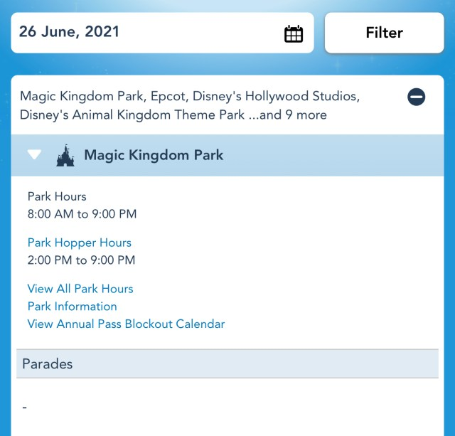Disney World Theme Park Hours have been released through June 26th 2