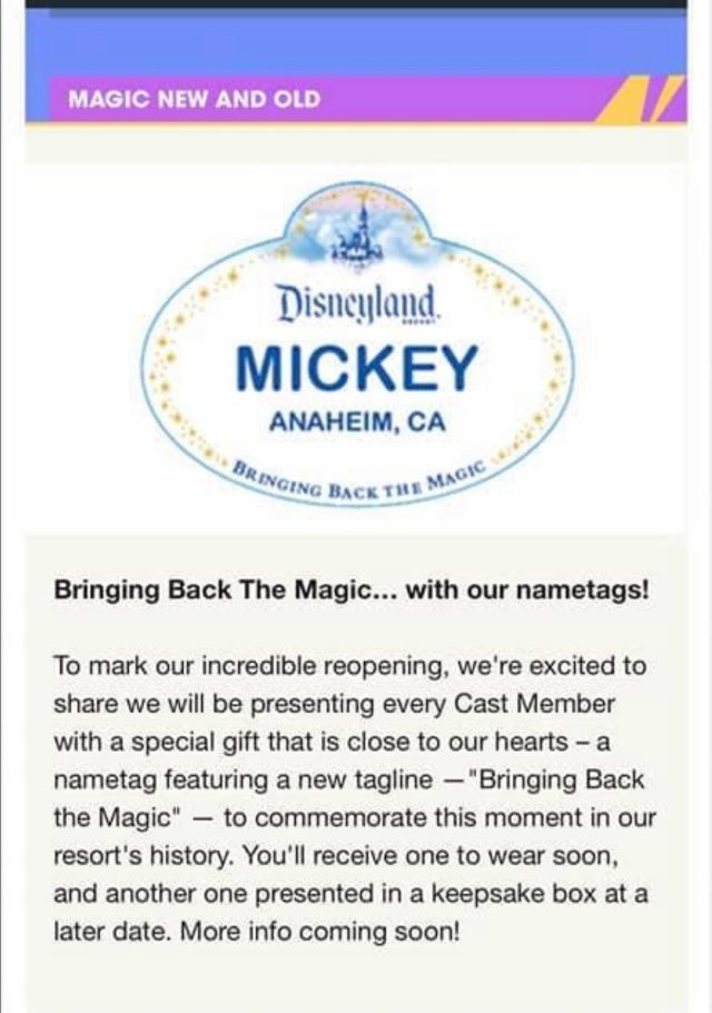 Disneyland Cast Members will receive new Name Badges when they reopen 1
