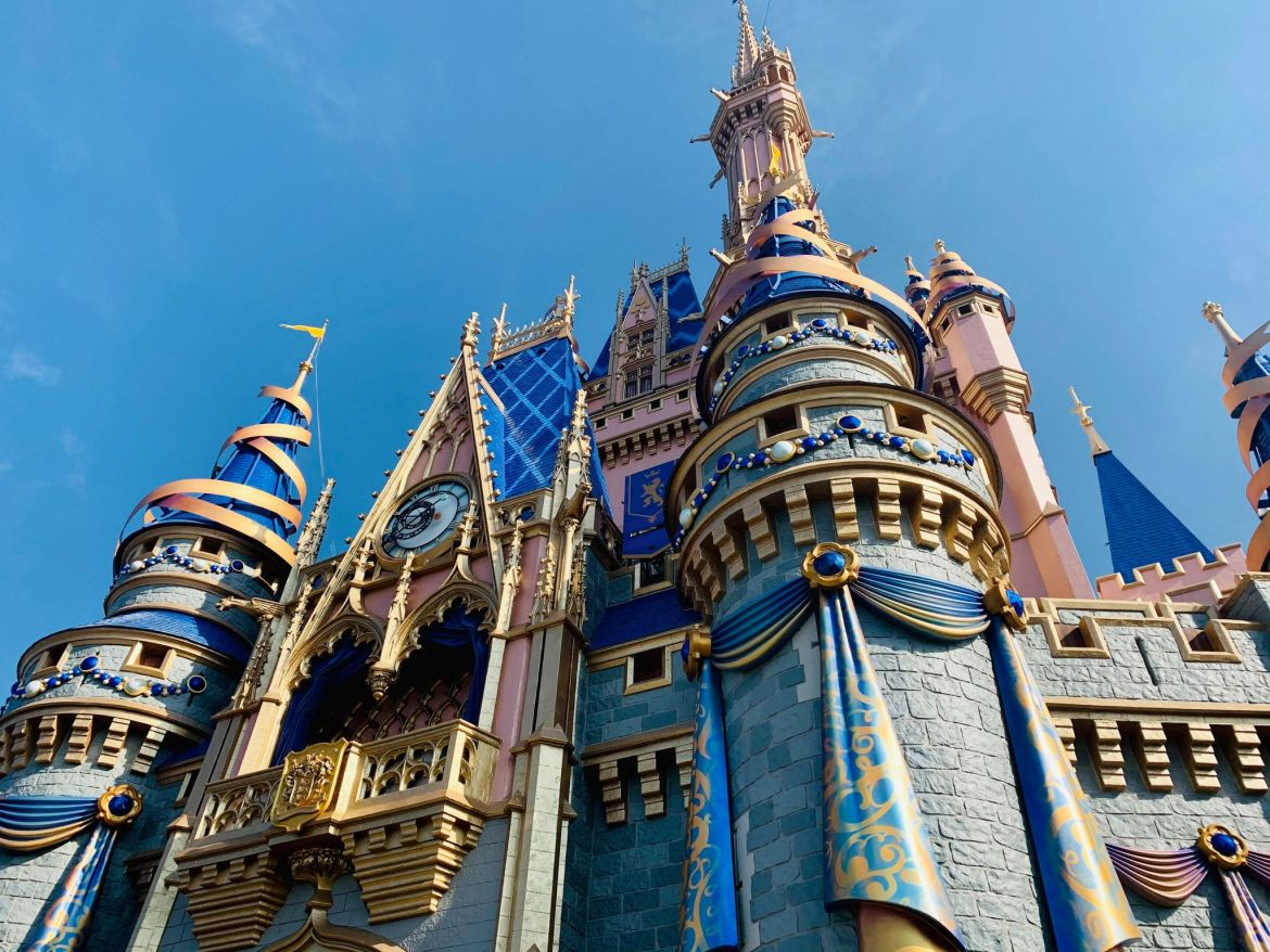 Jewels and Turret Decorations adorn Cinderella Castle for 50th Anniversary