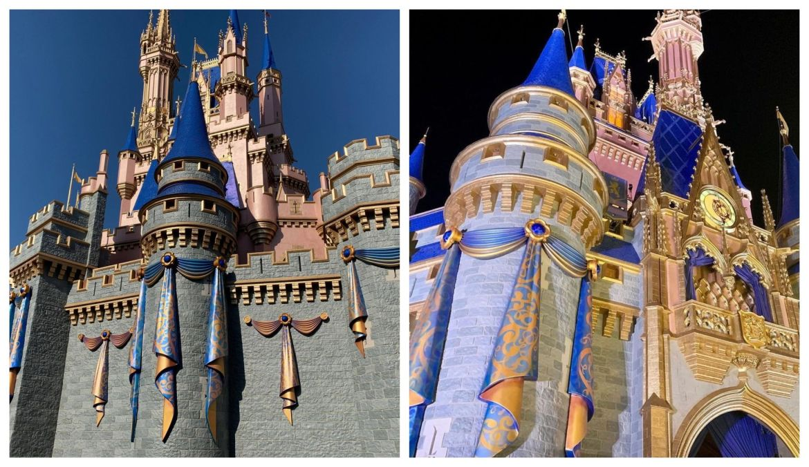 Final pieces of Draperies Installed for 50th Anniversary Décor on Cinderella Castle