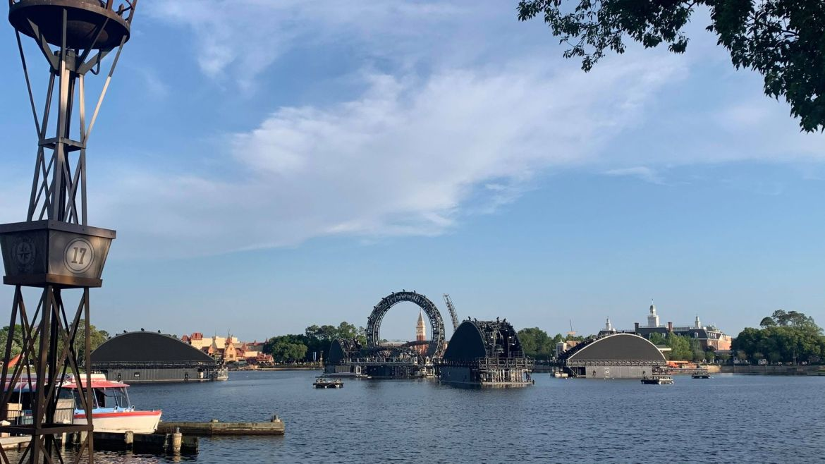 Fifth Barge is now in place in Epcot's Harmonious