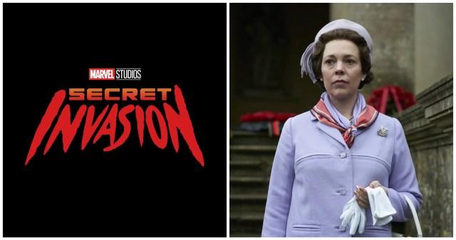 Marvel Studios Secret Invasion logo (left) and Olivia Colman in The Crown (right)